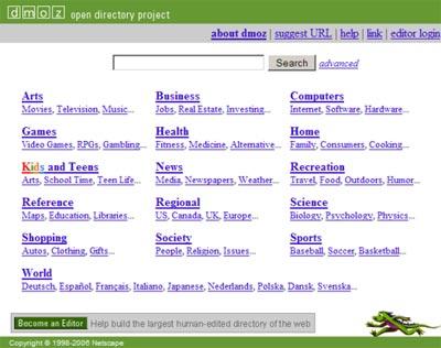 DMOZ - самый уважаемый каталог сайтов (онлайн)