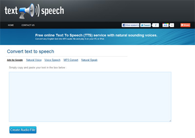 Text To Speech - преобразование текста в аудио (онлайн)